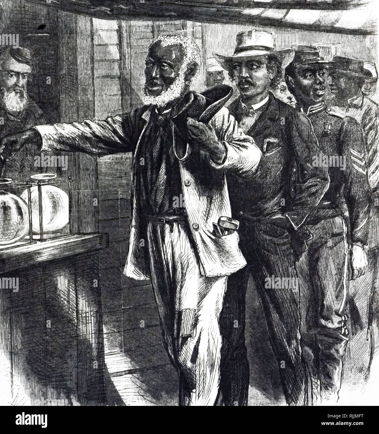 An engraving depicting a Southern polling place during the state elections of 1867. In the year the Army's figures for the reconstructed states showed 703,000 African American voters. Dated 19th century - Stock Image
