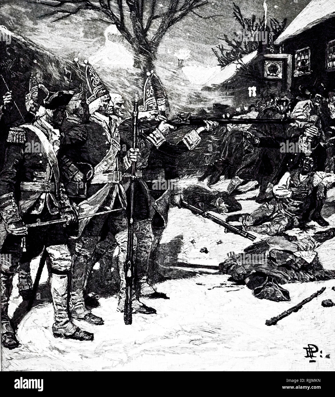 An engraving depicting a scene from the Boston Massacre, where British soldiers shot and killed several people while under attack by a mob. Dated 18th century - Stock Image