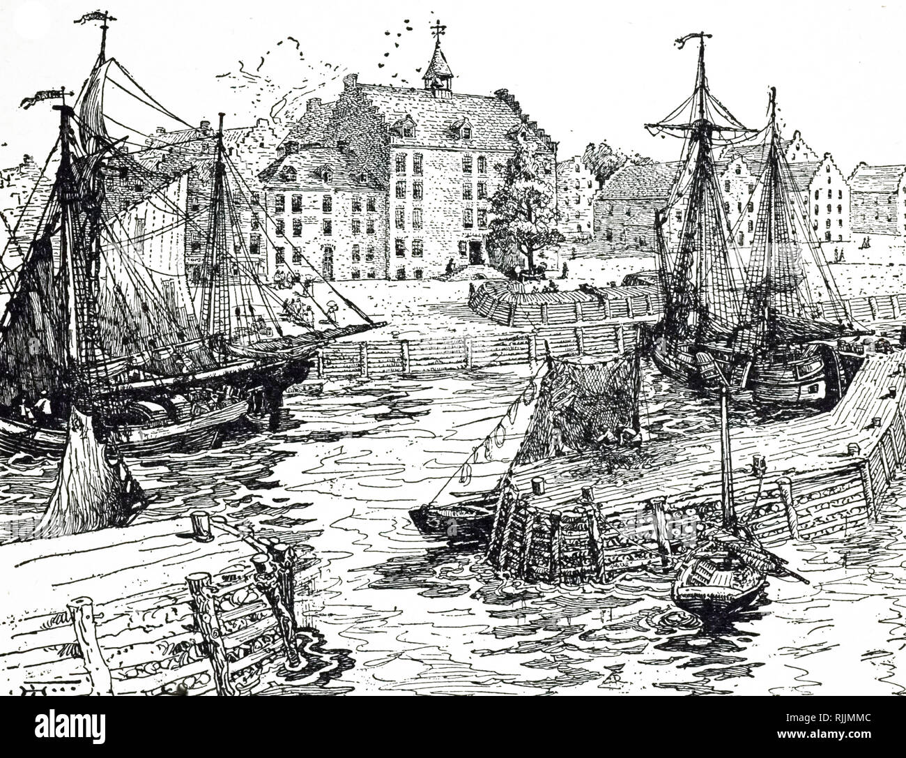 An engraving depicting New York City Hall and Docks. Dated 17th century - Stock Image