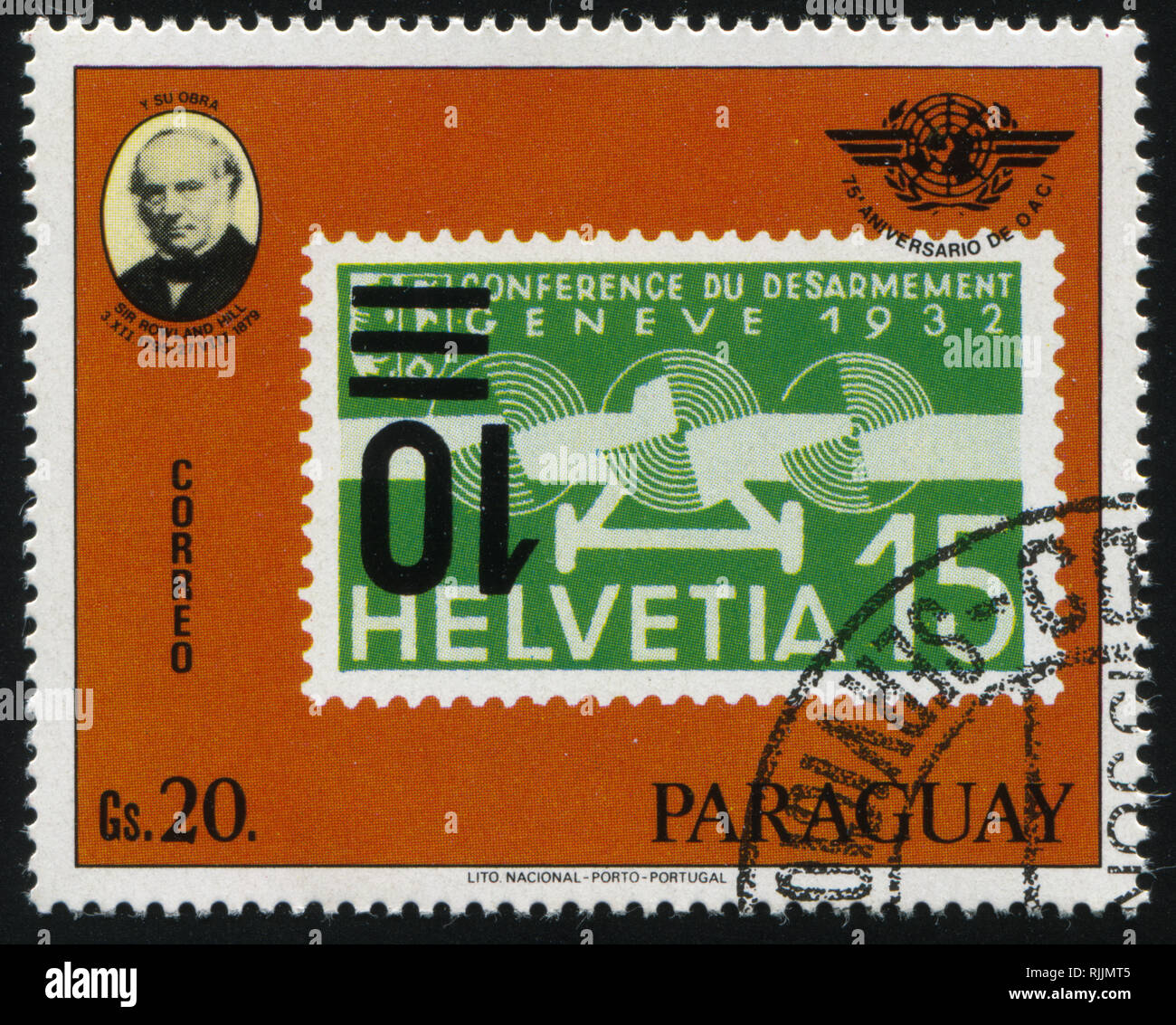 RUSSIA KALININGRAD, 22 APRIL 2017: stamp printed by Paraguay, shows Sir Rowland Hill and a stamp from Switzerland, circa 1979 Stock Photo