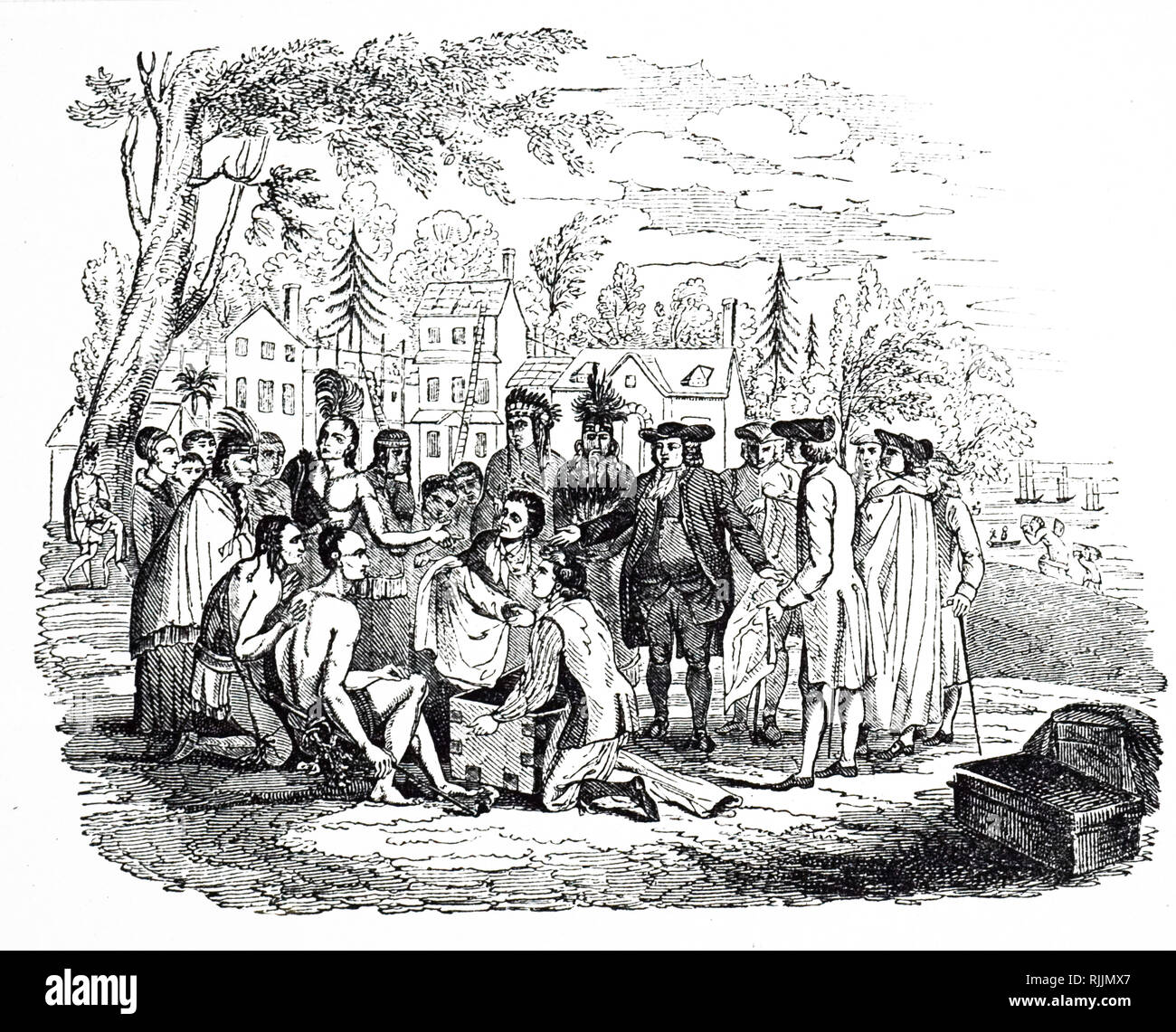An engraving depicting William Penn meeting the Native Americans. Sir William Penn (1644-1718) an English, real estate entrepreneur, philosopher, early Quaker, and founder of the English North American colony the Province of Pennsylvania. Dated 19th century Stock Photo