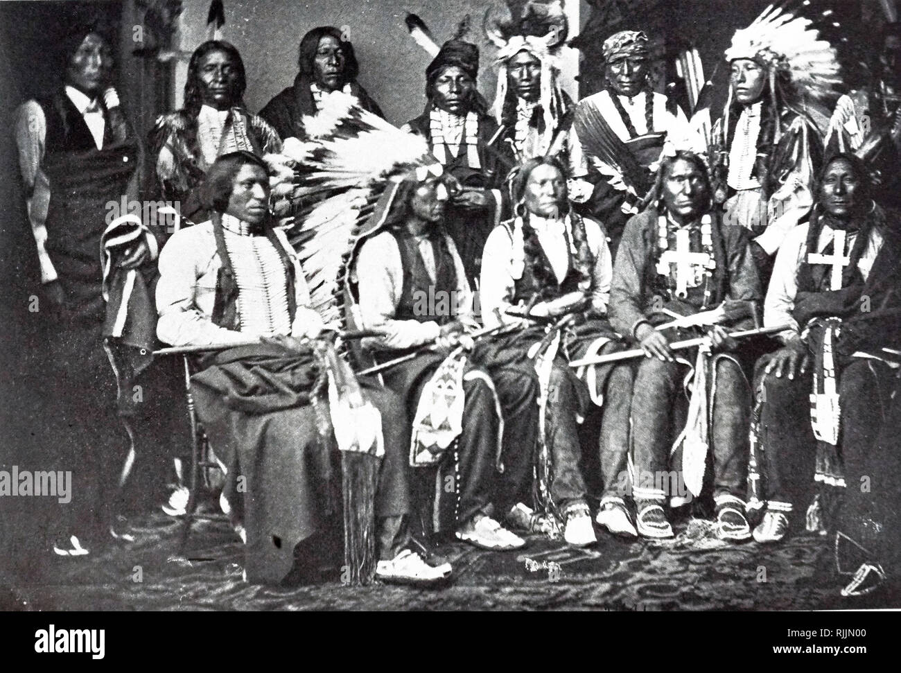 Photograph of Sioux Chiefs in the East Room of the White House. Photograph was taken by Mathew Brady (1822-1896) one of the earliest photographers in American history. Dated 19th century - Stock Image
