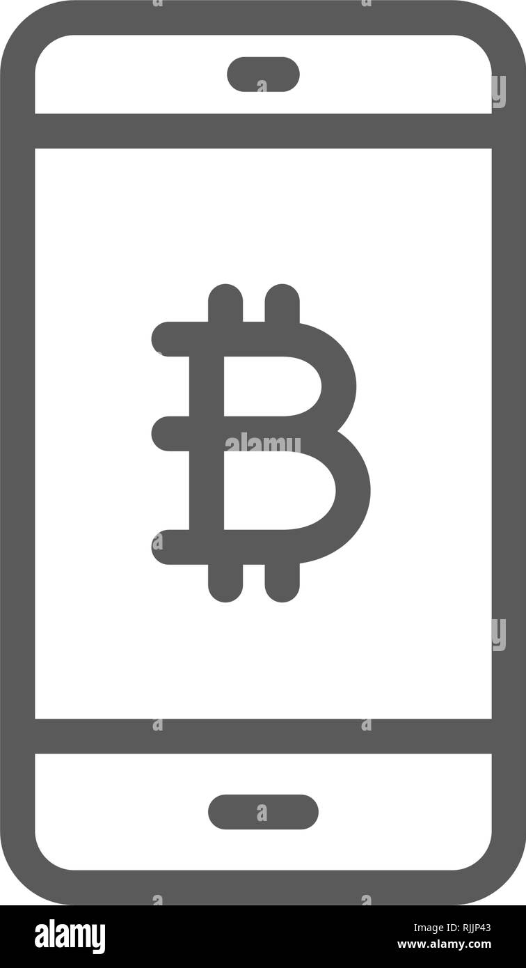 Smartphone display with bitcoin sign, blockchain line icon. - Stock Image