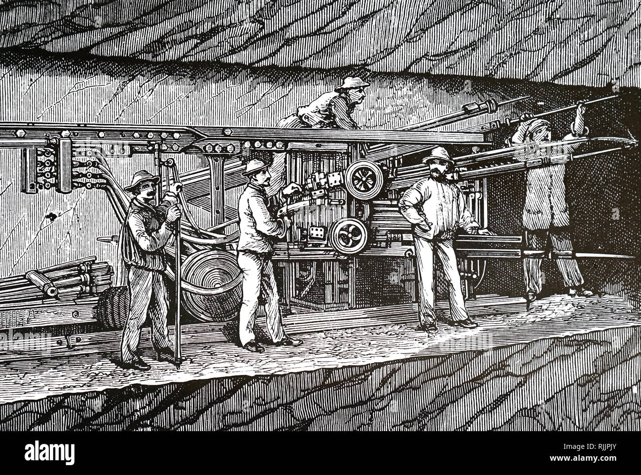 An engraving depicting a compressed air drill used for boring rock during the construction of the Mont Cenis tunnel. Dated 19th century - Stock Image
