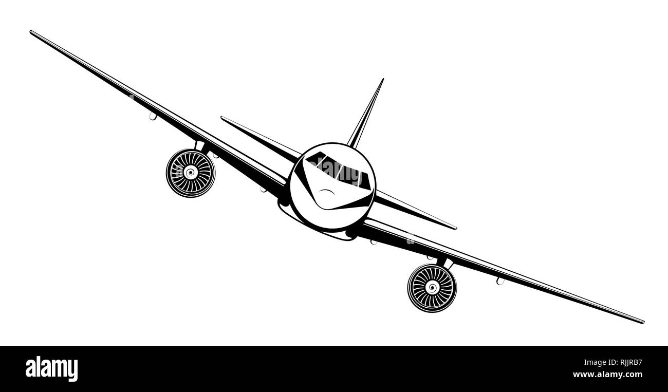 Airplane on blue background. Plane flying in the sky. Front view. Aircraft flat style vector illustration. - Stock Image