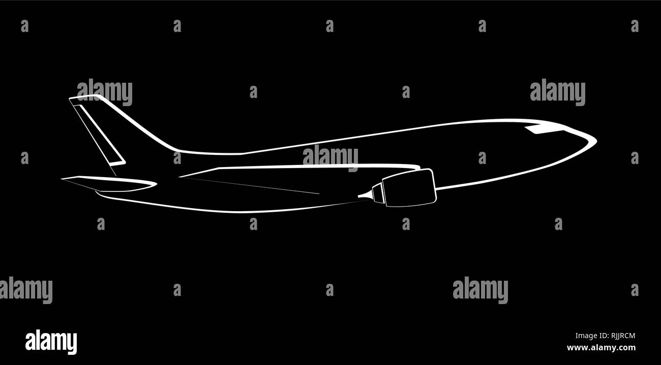 Airplane on black background. Plane flying in the sky. Side view. Aircraft flat style vector illustration. - Stock Image