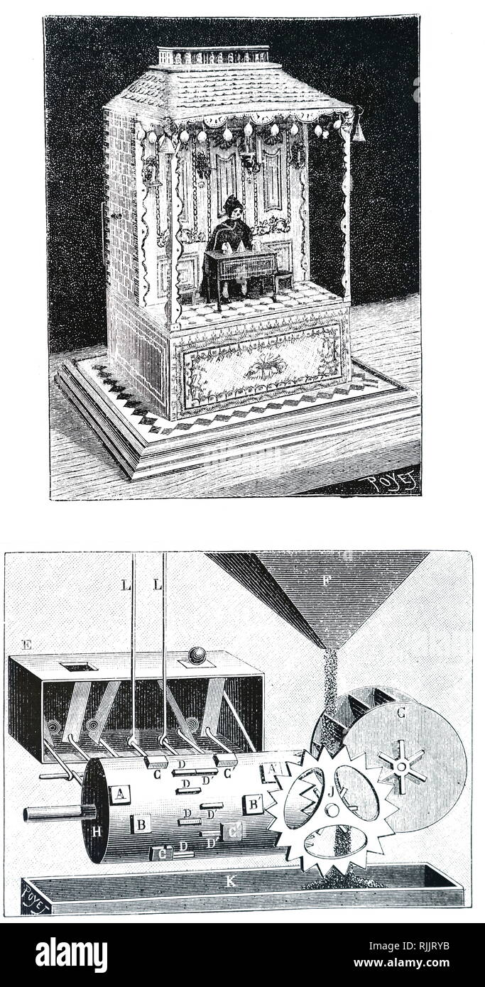 An engraving depicting the 'Conjuror' automaton who made bells appear and disappear under glasses. Below is the mechanism which was operated by falling sand. 19th century - Stock Image