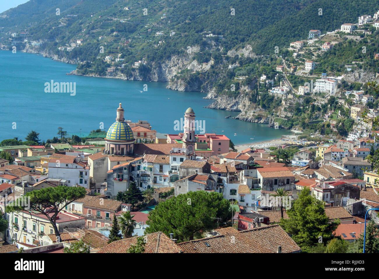 Landscape of Vietri sul Mare, beautiful town on Amalfi coast, Campania, Italy Stock Photo