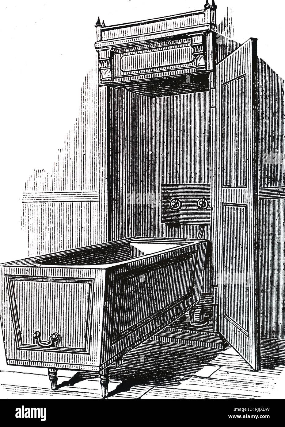 An engraving depicting a bath with one end mounted on a pivot so that it could be stood on end and be concealed in a cupboard when not in use. Dated 19th century - Stock Image
