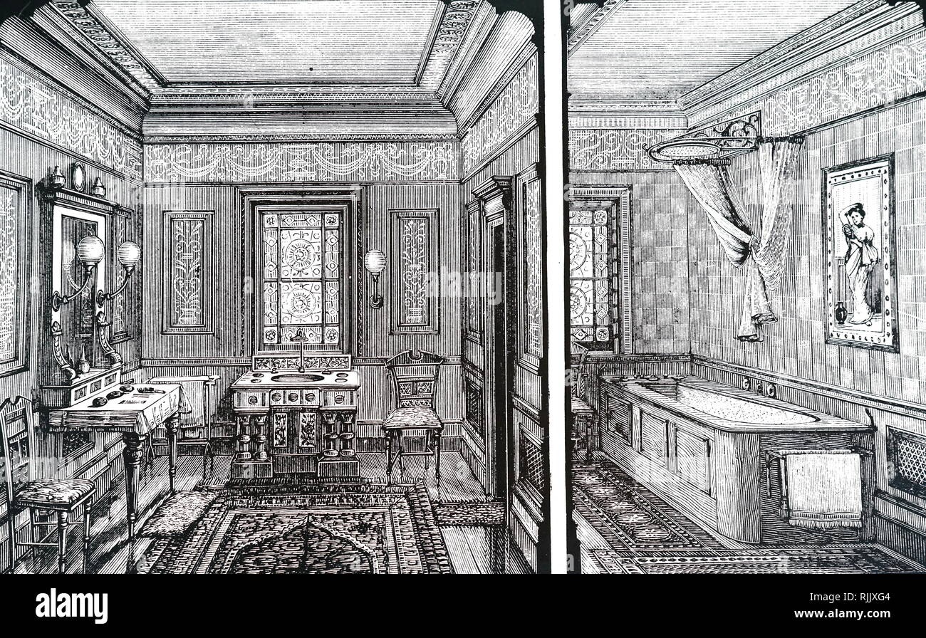 An engraving depicting a combined bathroom and lavatory designed by Doulton & Co. Dated 19th century - Stock Image