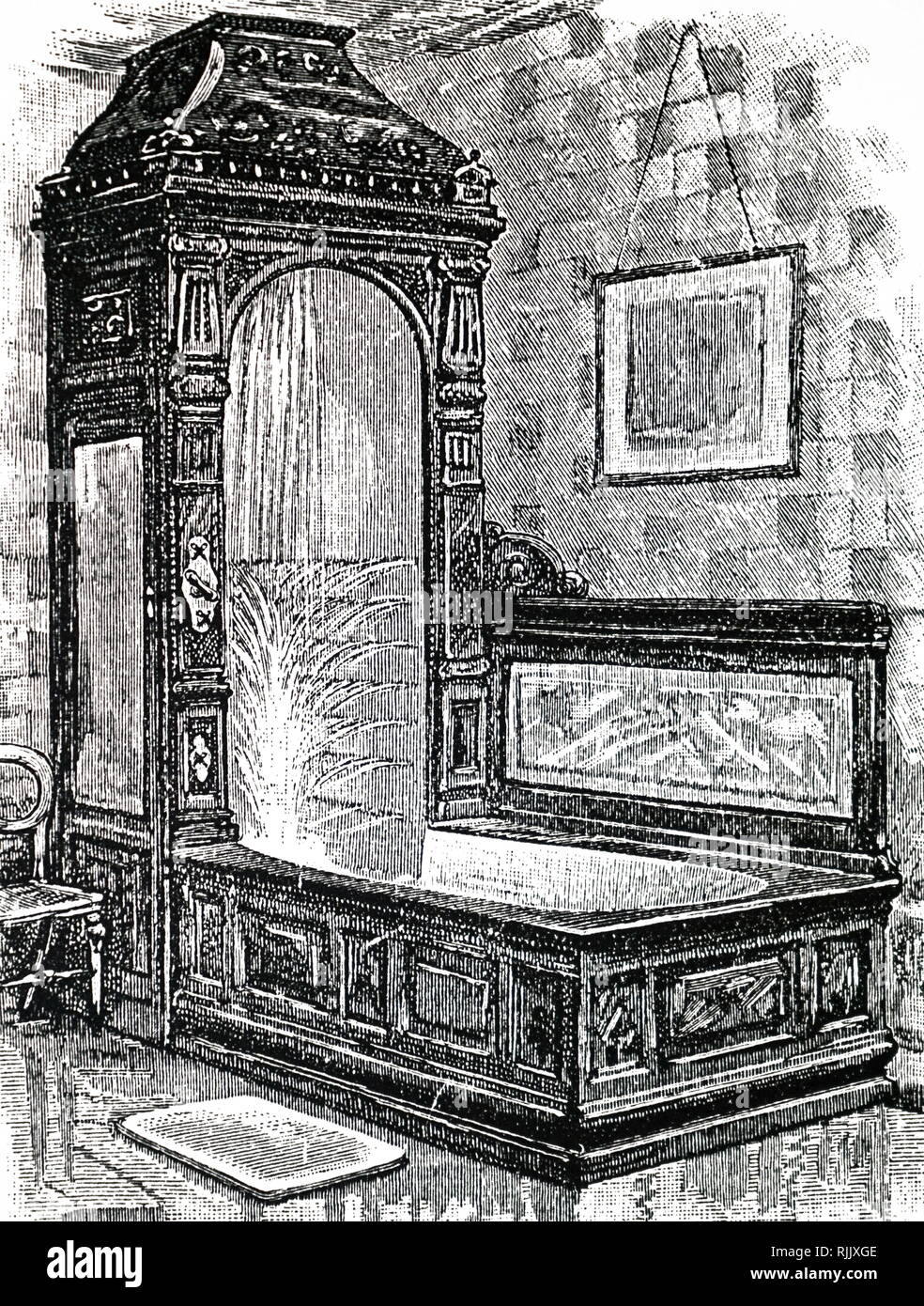 An engraving depicting a bedroom washbasin and ewer. The bath was fitted with a shower and spray apparatus. 'Fittings of this elaborate kind are luxuries confined to large establishments'. Dated 19th century - Stock Image
