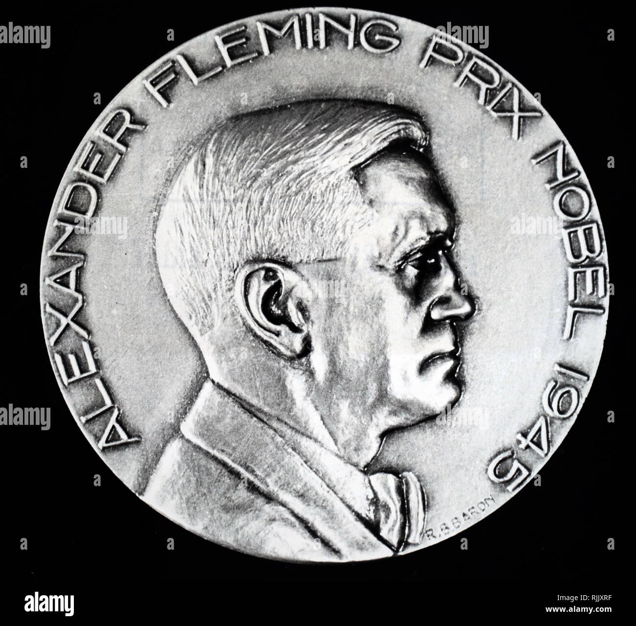 A medal commemorating Alexander Fleming's Nobel Prize win in 1945. Alexander Fleming (1881-1955) a Scottish physician, microbiologist, and pharmacologist. Dated 20th century - Stock Image