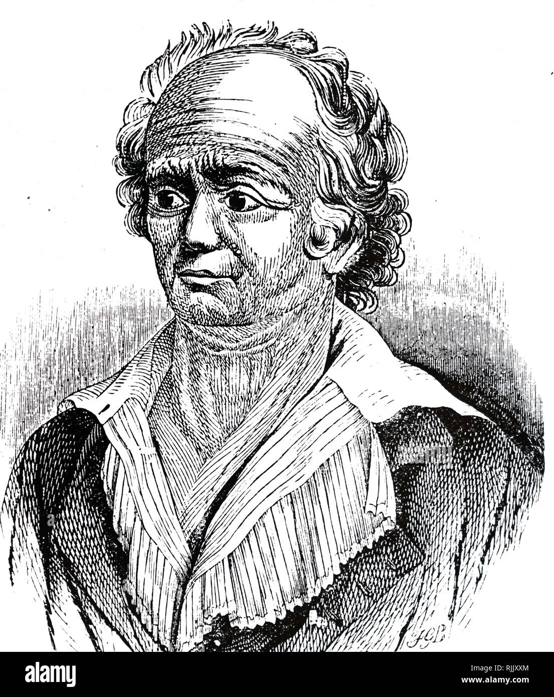Franz Josef Gall (1758 - 1828); neuroanatomist, physiologist, and pioneer in the study of the localization of mental functions in the brain. Drawing 1851 - Stock Image