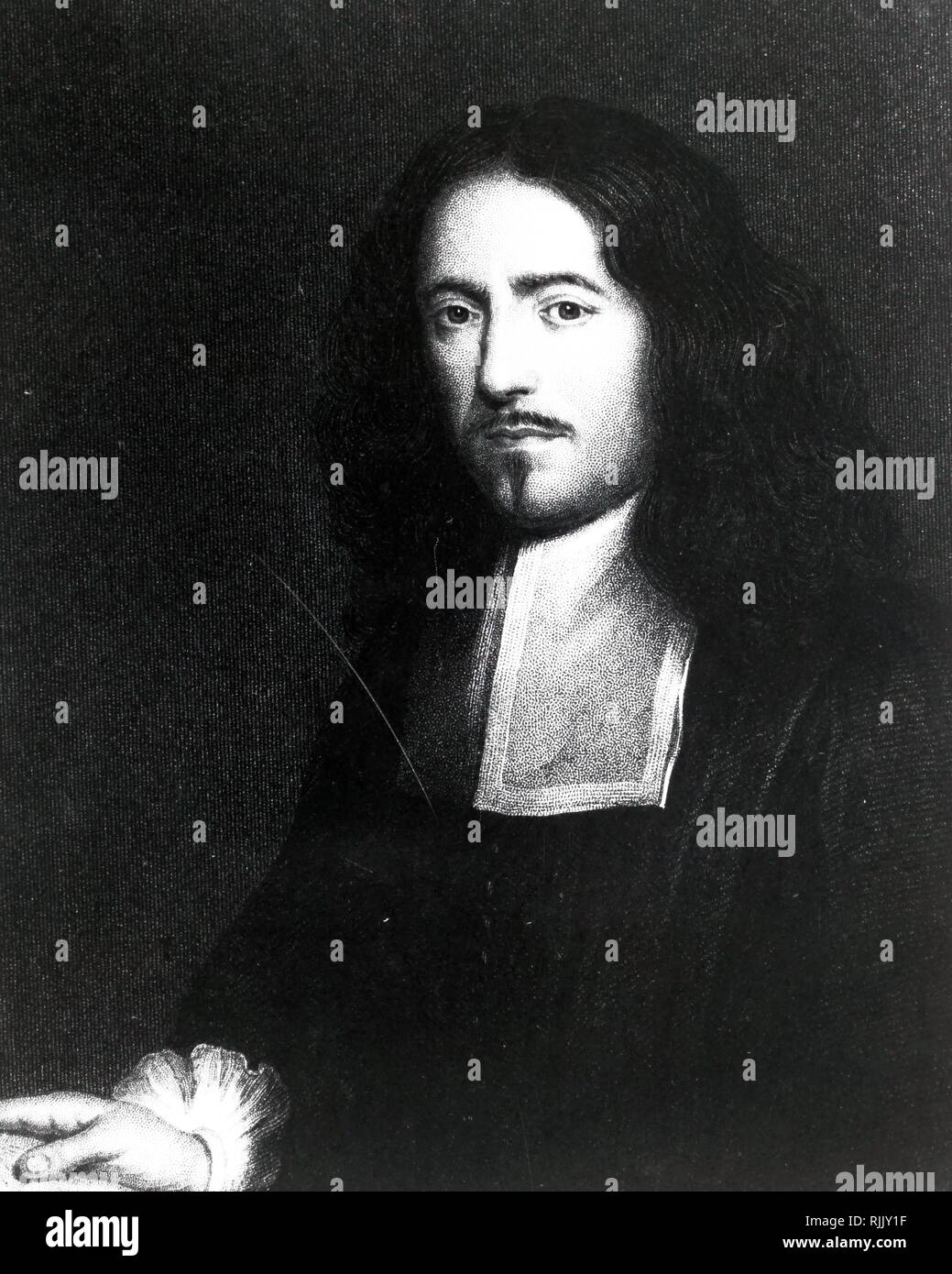 Portrait of Marcello Malpighi (1628 - 1694); Italian biologist and physician, who is referred to as the 'Father of microscopically anatomy, histology, physiology and embryology'. - Stock Image
