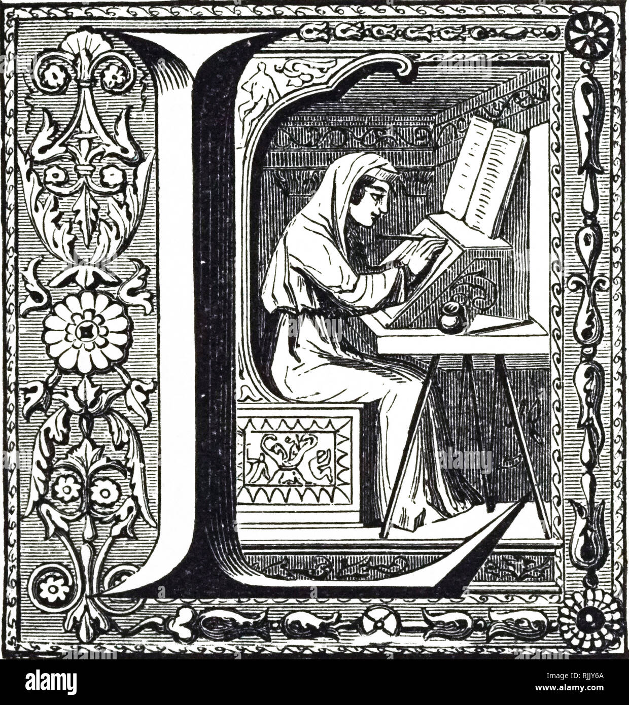 An illuminated manuscript - with the initial L - depicting a copyist. Dated 18th century - Stock Image