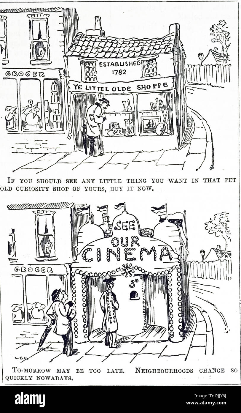 A cartoon commenting on how quickly neighbourhoods were changing. Dated 20th century - Stock Image