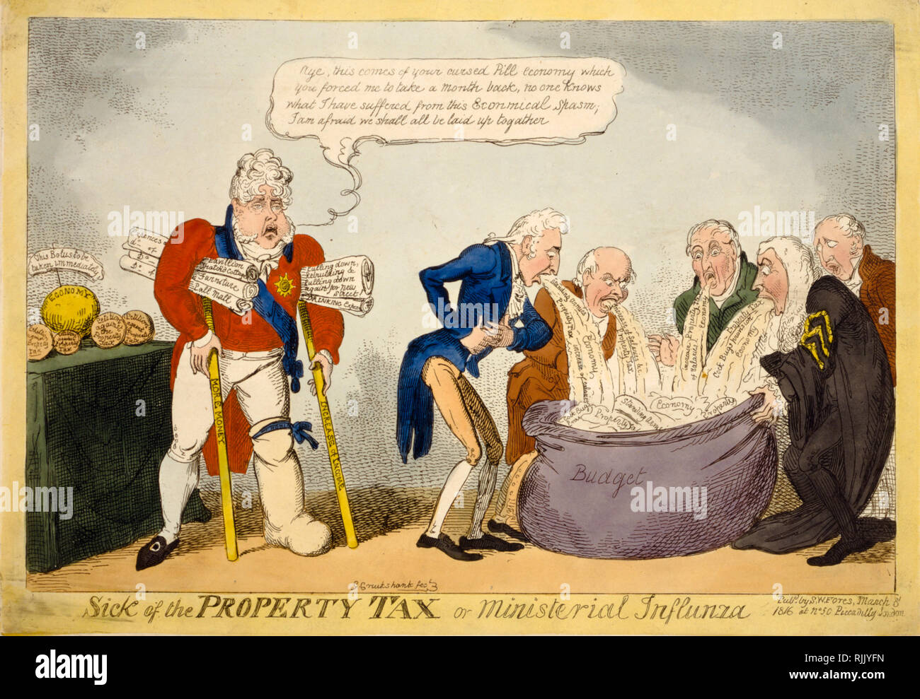 British Political Cartoon - George Cruikshank 1816 - 'Sick of the property tax or ministerial influnza (sic)' - politics - Stock Image
