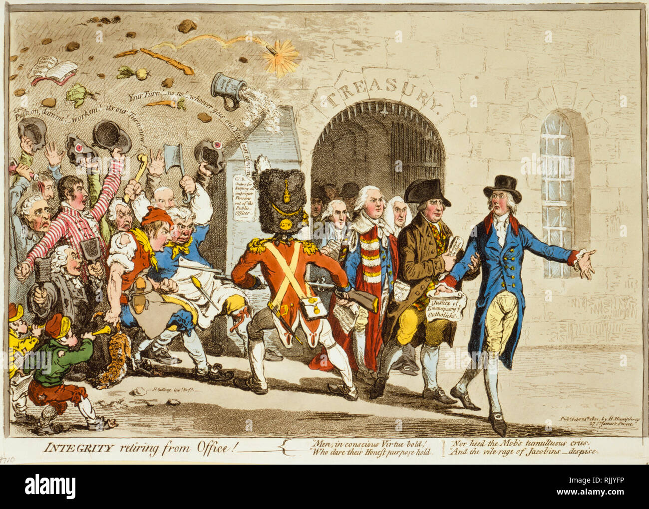 British Political Cartoon - James Gillray 1801 - 'Integrity retiring from Office' - politics - Stock Image