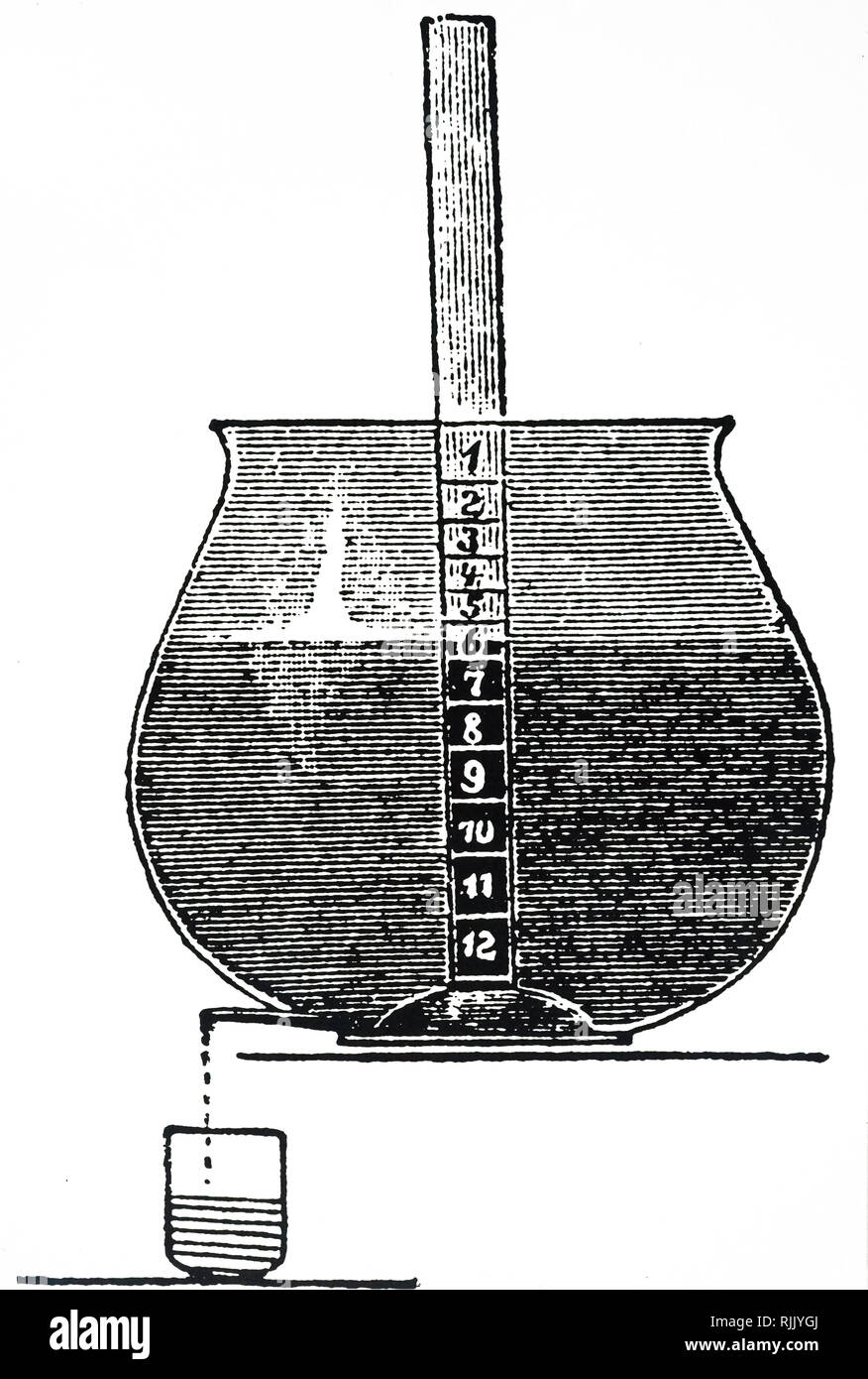 An engraving depicting a simple water clock: the water is allowed to escape at the bottom at a controlled rate. The divisions allowed for the passing of each hour differ according to the dimensions of the vessel and the head of water still in it. Dated 19th century - Stock Image
