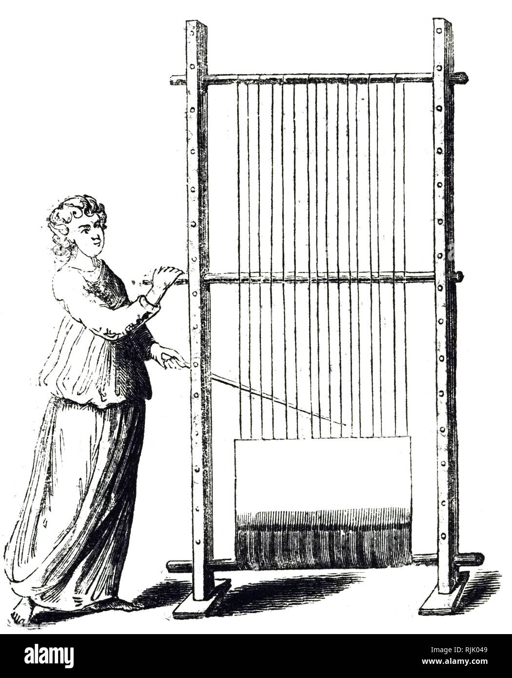 An engraving depicting a warping frame used to create a warp of the correct size and tension. The sturdy frame has pegs set firmly at regular intervals. Dated 19th century - Stock Image