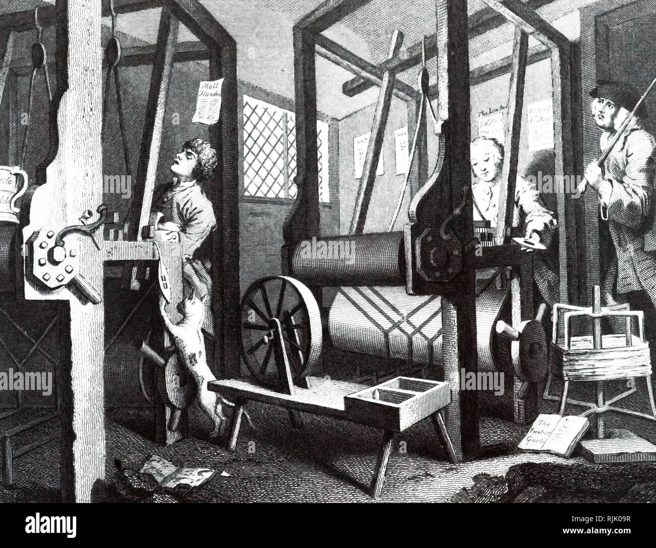 An engraving from the art series 'Industry and Idleness' by William Hogarth. The industrious apprentice quietly gets on with his weaving, while the idle apprentice sleeps off the effects of a night of revelling. William Hogarth (d. 1764) an English painter, printmaker, pictorial satirist, social critic, and editorial cartoonist. Dated 18th century - Stock Image