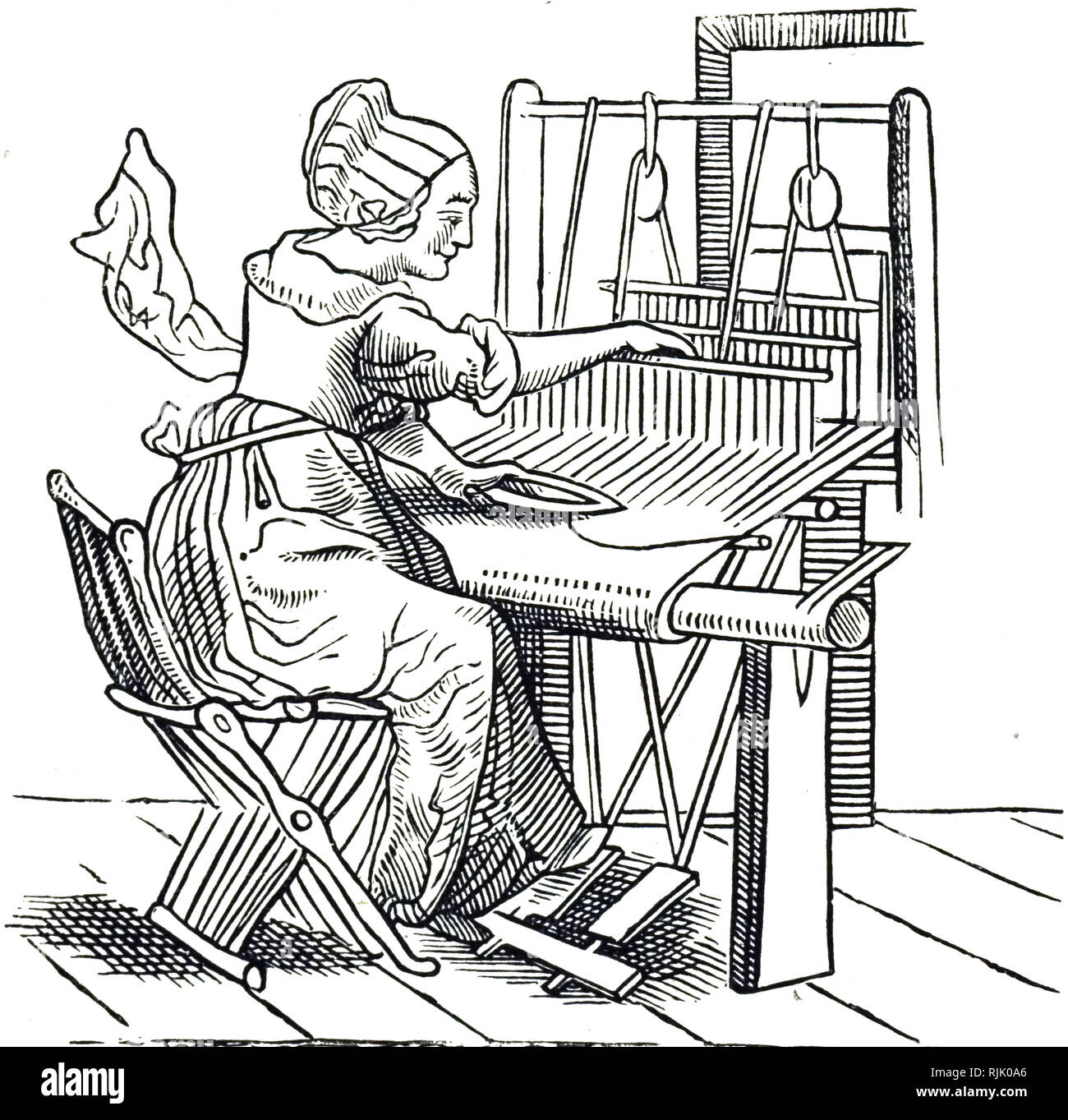 A woodcut engraving depicting a woman weaving. Woodcut by Hans Holbein the Younger (1497-1543) a German artist and printmaker. Dated 16th century - Stock Image
