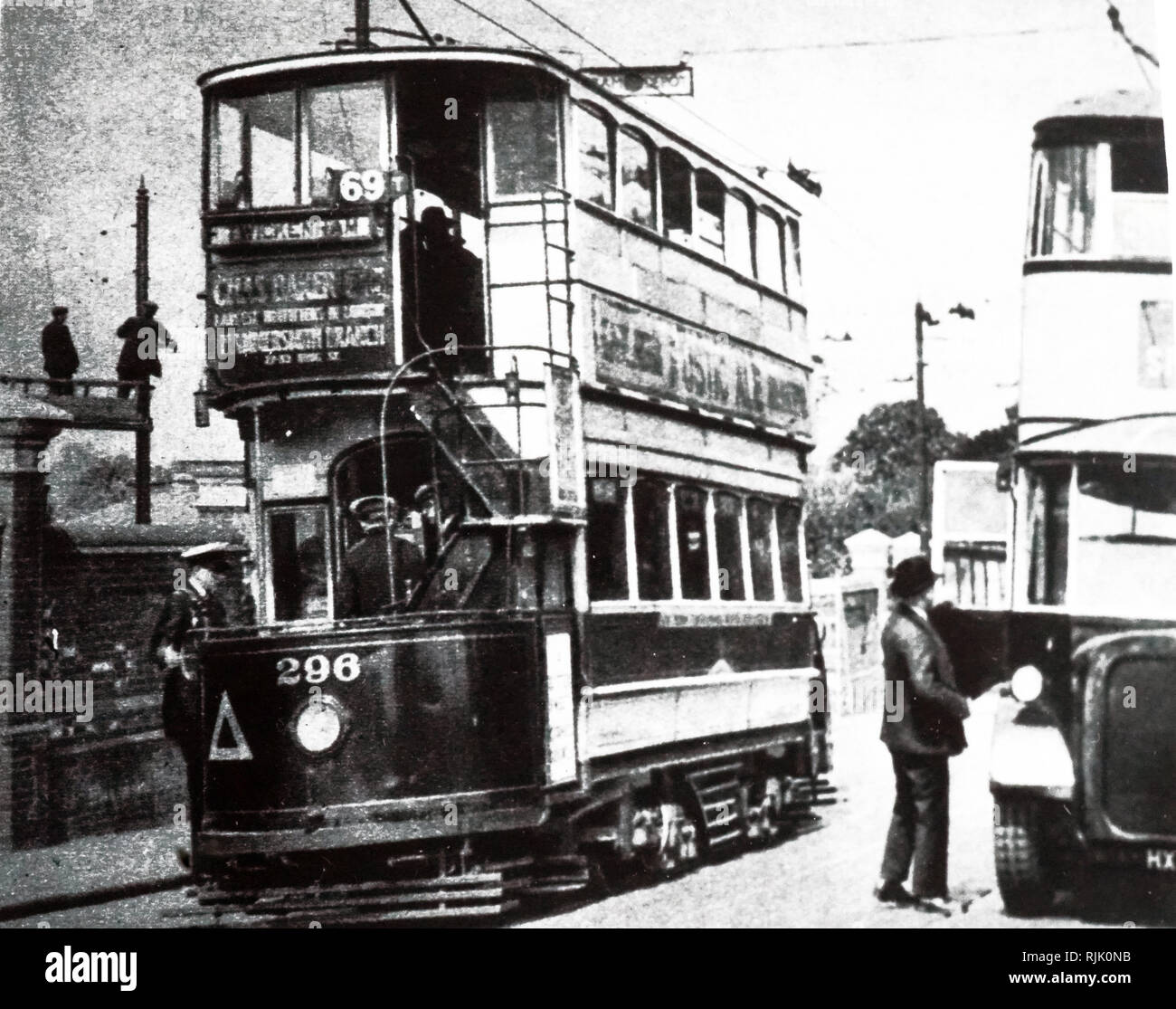 A photograph of a trackless tram. This innovation to London appeared at Twickenham in May 1931. The vehicle is built like a motor-bus but draws its power from the overhead wire. It has, however, complete freedom of movement. Dated 20th century - Stock Image