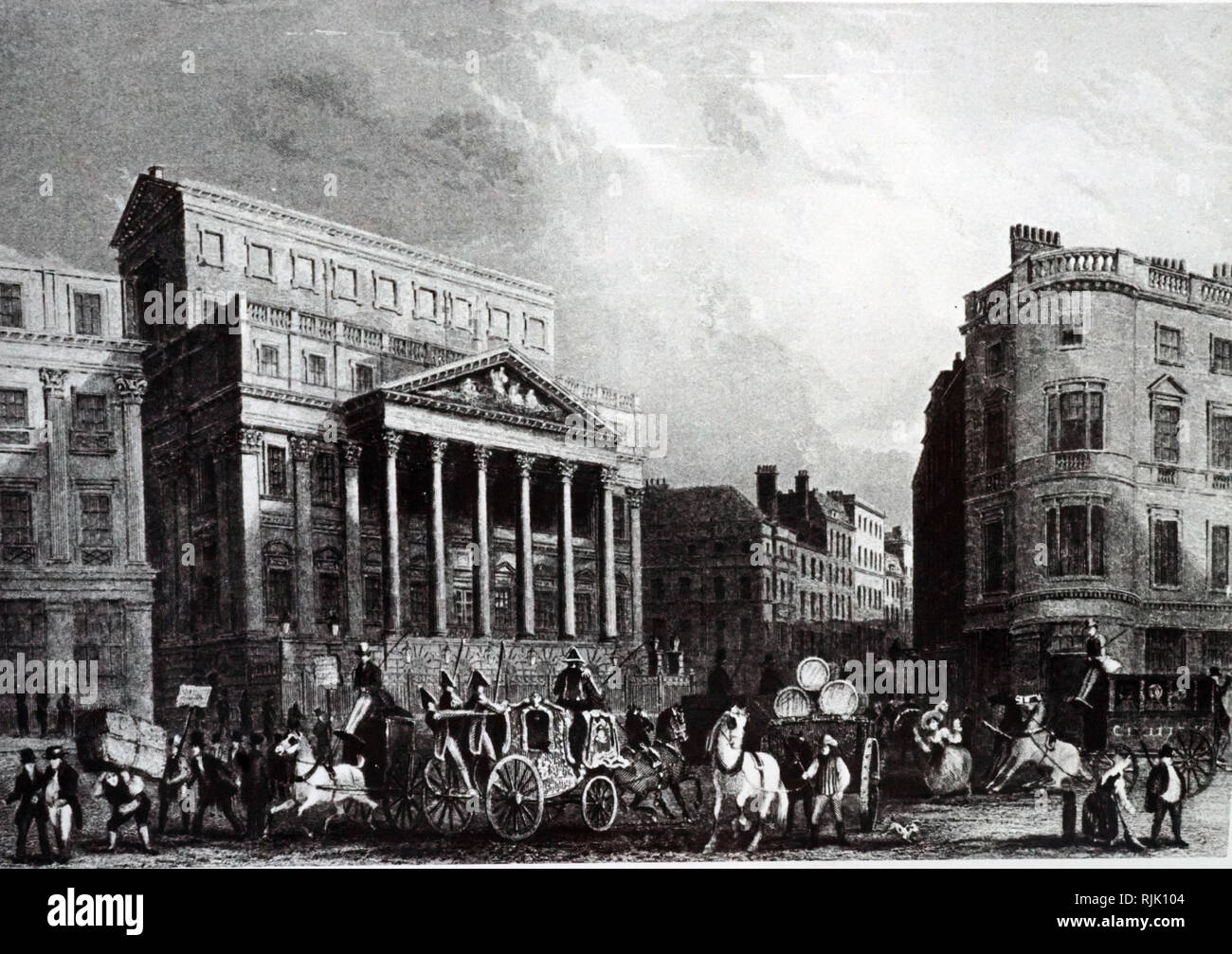 An engraving depicting the exterior of Mansion House, London, the official residence of the Lord Mayor of London. Dated 19th century - Stock Image