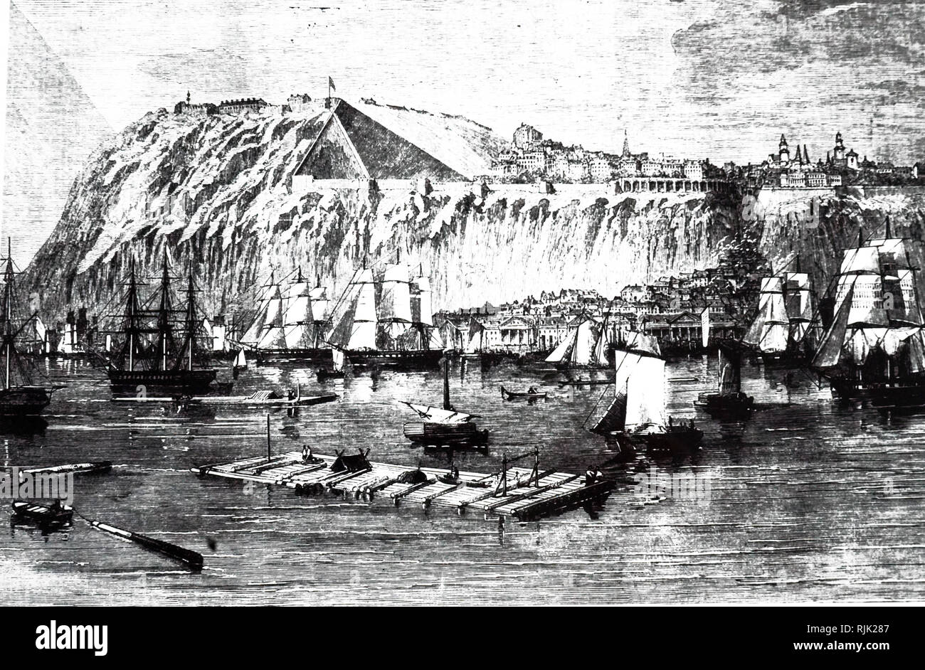 An engraving depicting a port in Quebec. Dated 19th century - Stock Image