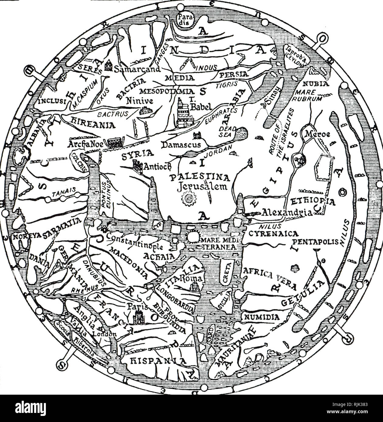 An engraving depicting the central section of the Hereford Mappa Mundi, a medieval map of the known world. Dated 14th century - Stock Image