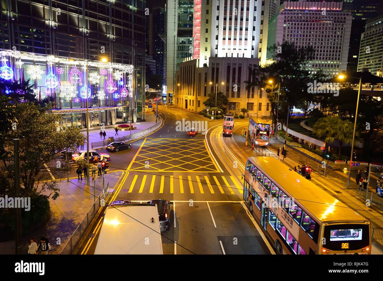 HONG KONG - DECEMBER 25, 2015: Hong Kong at night. Hong Kong is an autonomous territory on the southern coast of China at the Pearl River Estuary and  - Stock Image