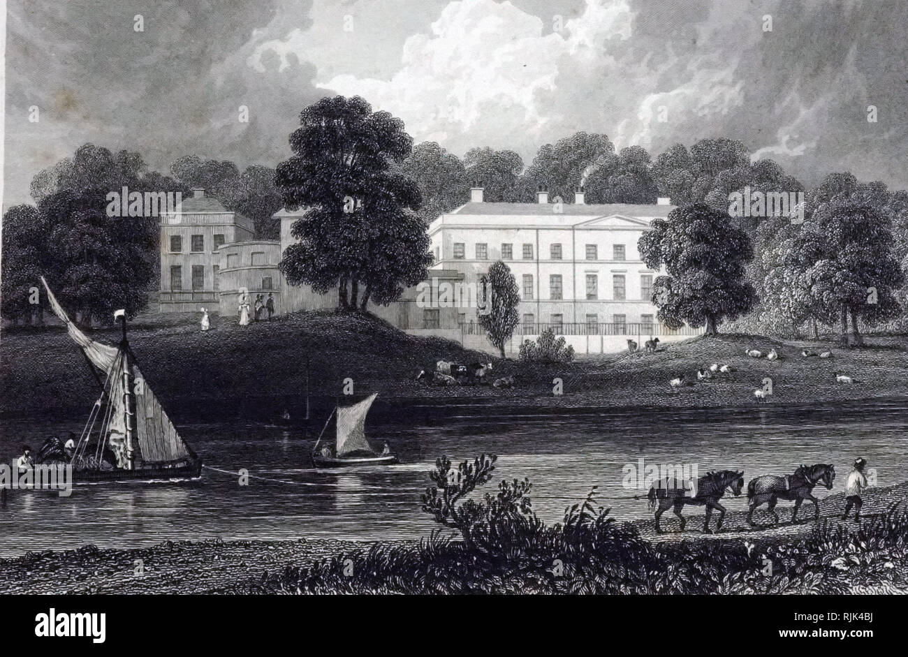 An engraving of William Tombleson's 'Nuneham Courteney, Oxon Lord Harcourts'. William Tombleson (1795-1846) an English topographical and architecture artist, illustrator, copper and steel engraver, writer and printmaker. Dated 19th century - Stock Image