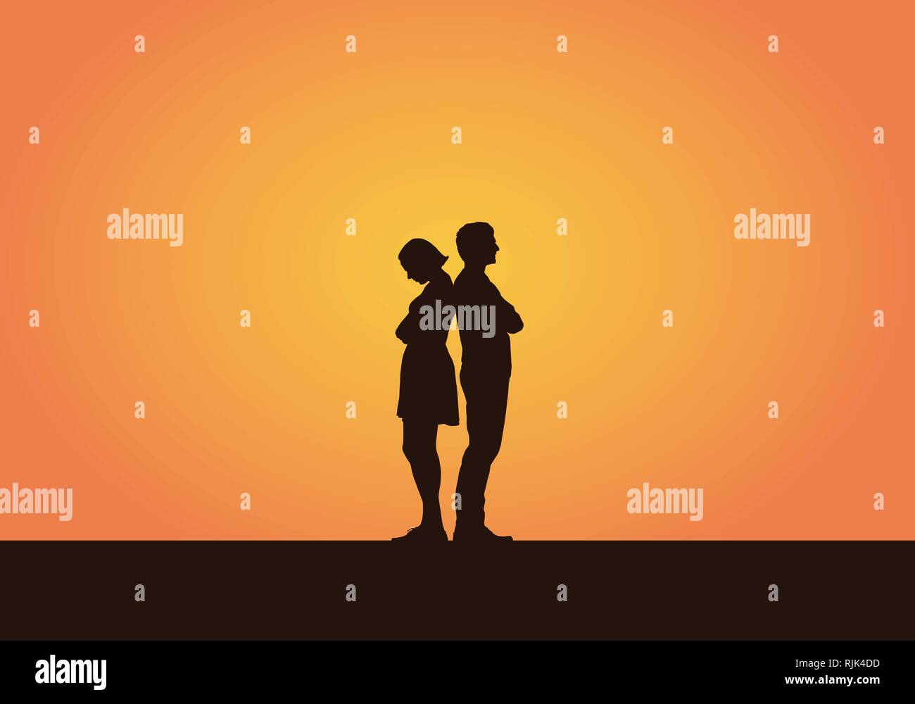 Realistic illustration of a silhouette of a couple of young people, men and women after a quarrel or disagreement. Isolated on an orange background -  - Stock Image