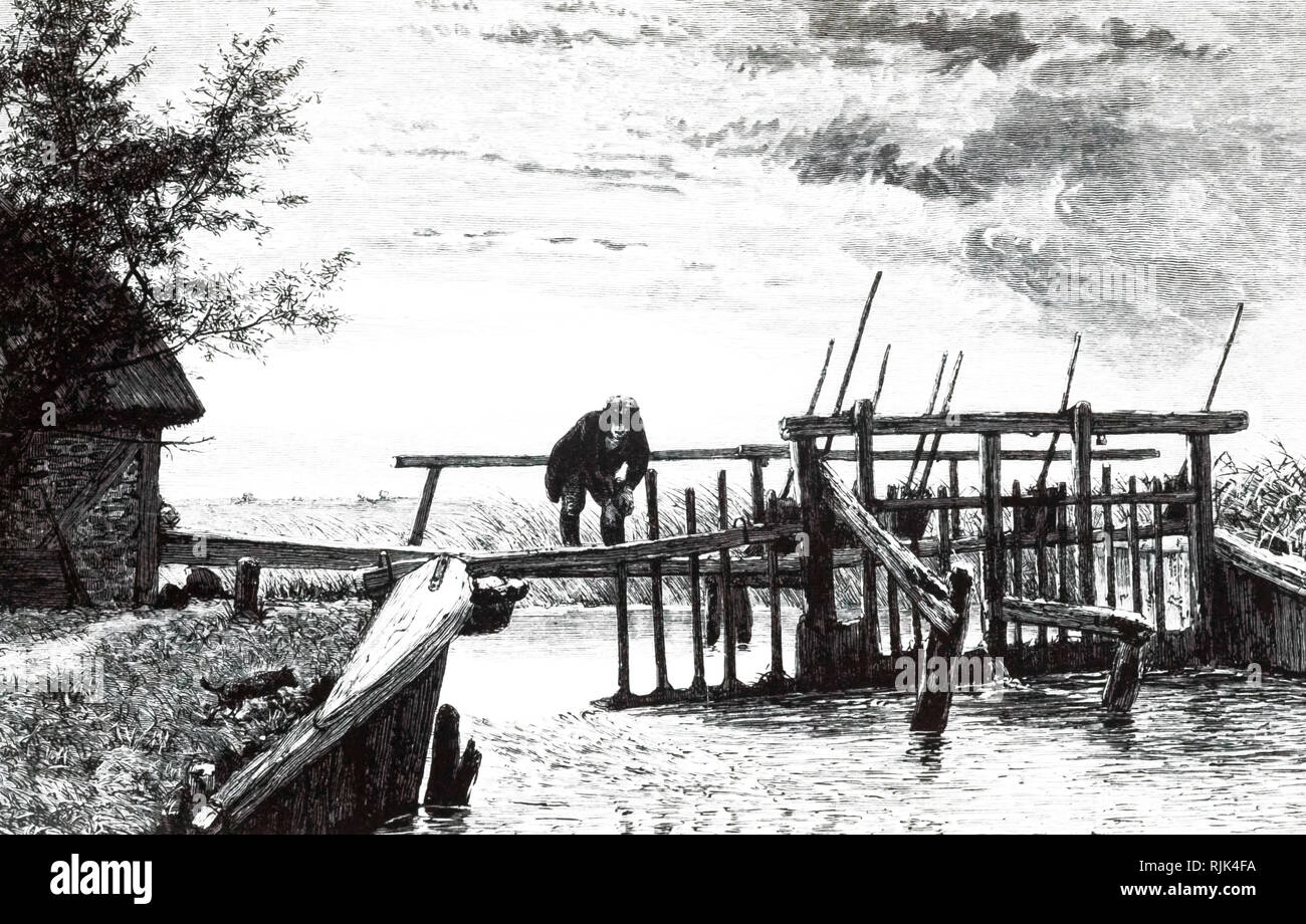 An engraving depicting a weir with a movable bridge. This movable dam acted as a flash-lock. When a boat reached the weir from upstream, the paddles removed and the boat was carried over a shallow on the temporary depth supplied by the water that was released. Dated 19th century Stock Photo