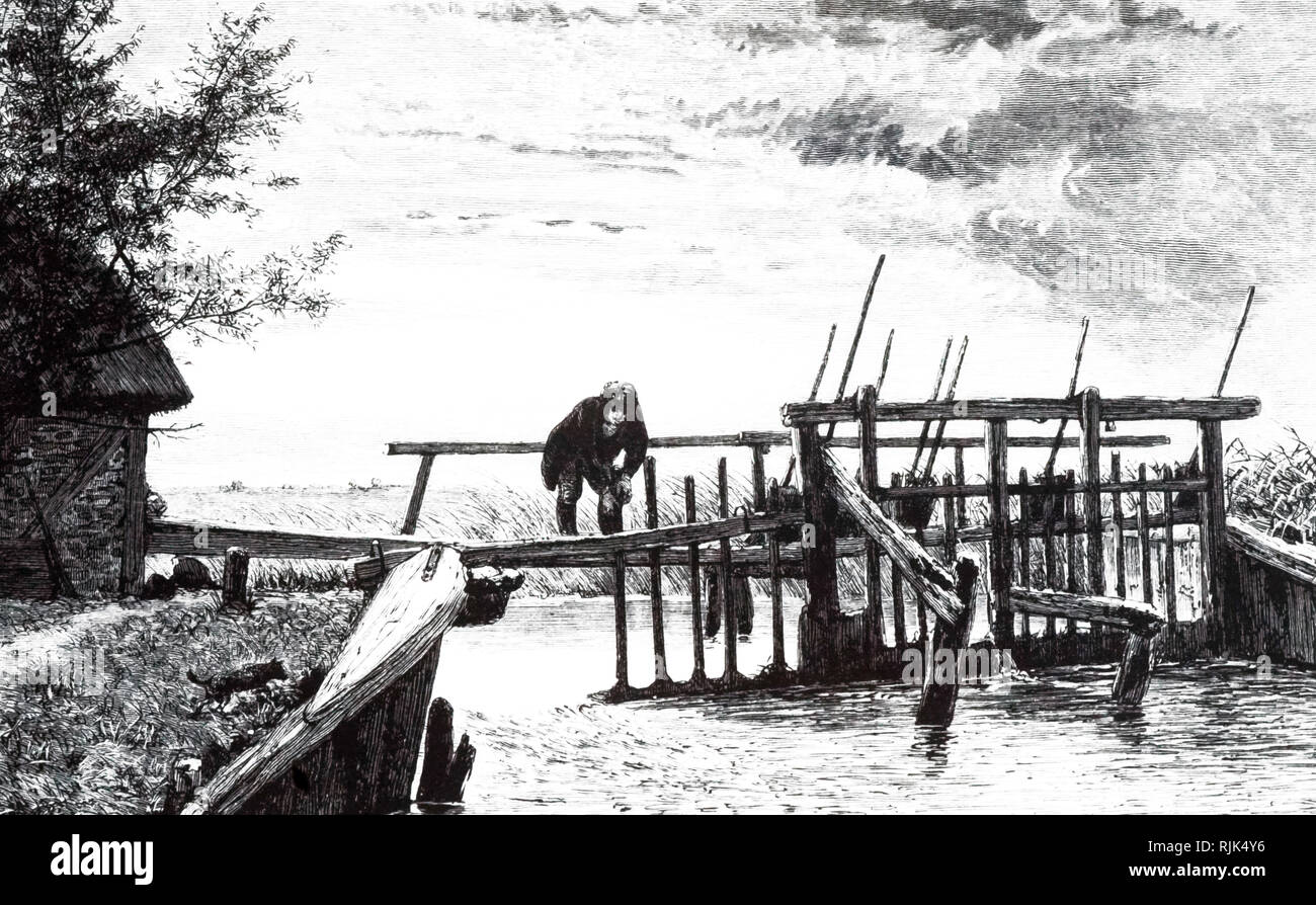 An engraving depicting a weir with a movable bridge. This movable dam acted as a flash-lock. When a boat reached the weir from upstream, the paddles removed and the boat was carried over a shallow on the temporary depth supplied by the water that was released. Dated 19th century - Stock Image
