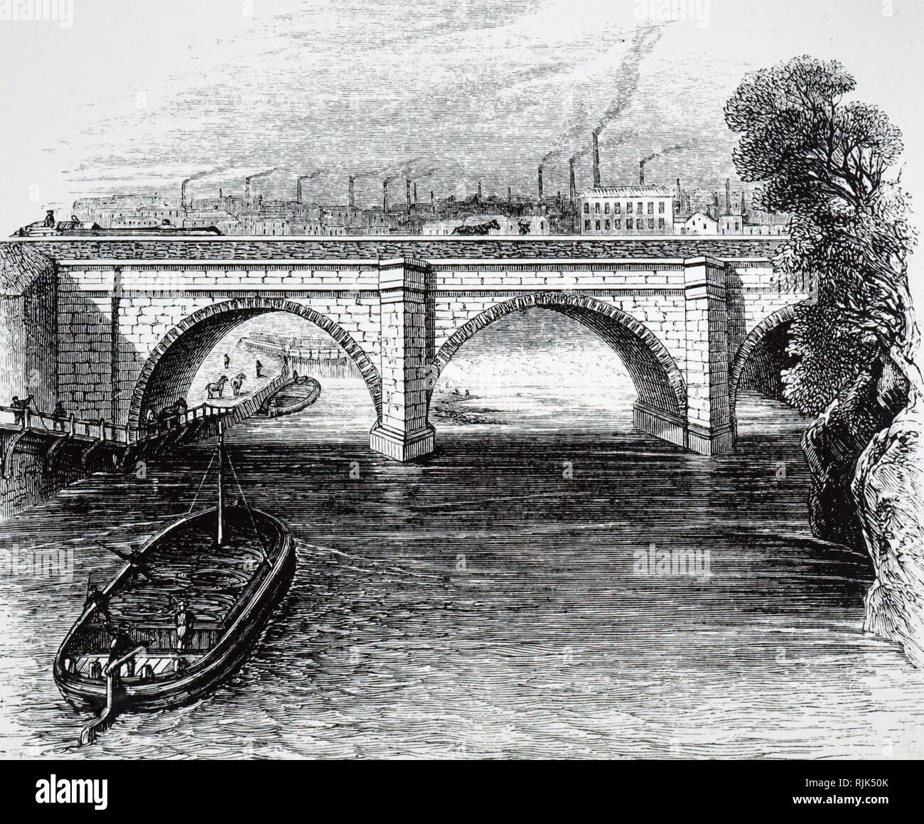 An engraving depicting the Barton aqueduct on the Duke of Bridgewater's Canal from Worsley to Manchester, built by James Brindley. James Brindley (1716-1772) an English engineer. Dated 19th century Stock Photo