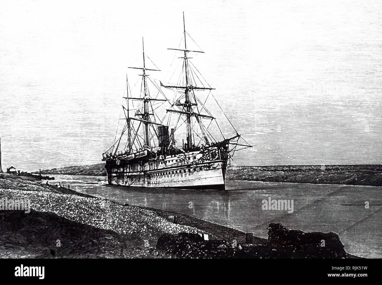 An engraving depicting a ship passing through the Suez Canal, Egypt. Dated 19th century - Stock Image