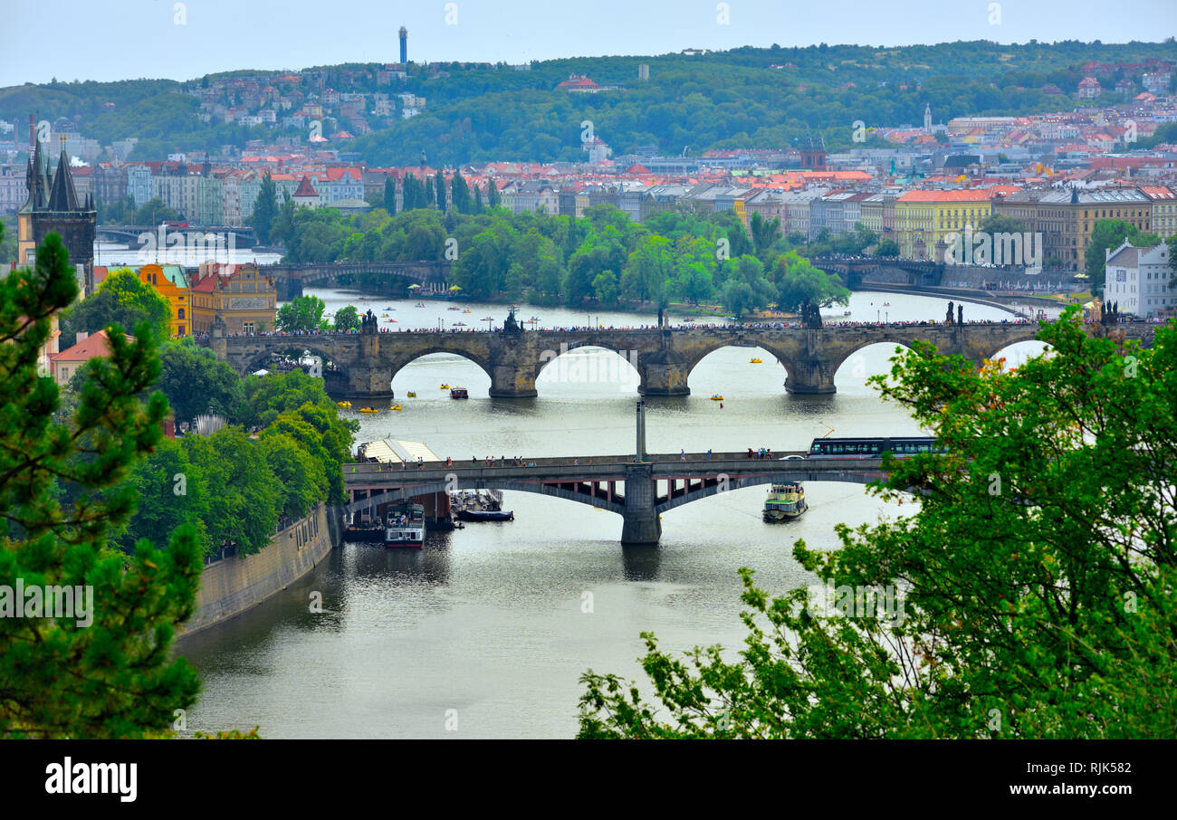 view over Prague from the top of Letna Hill by the Prague Metronome, the old Stalin culture centre park Stock Photo