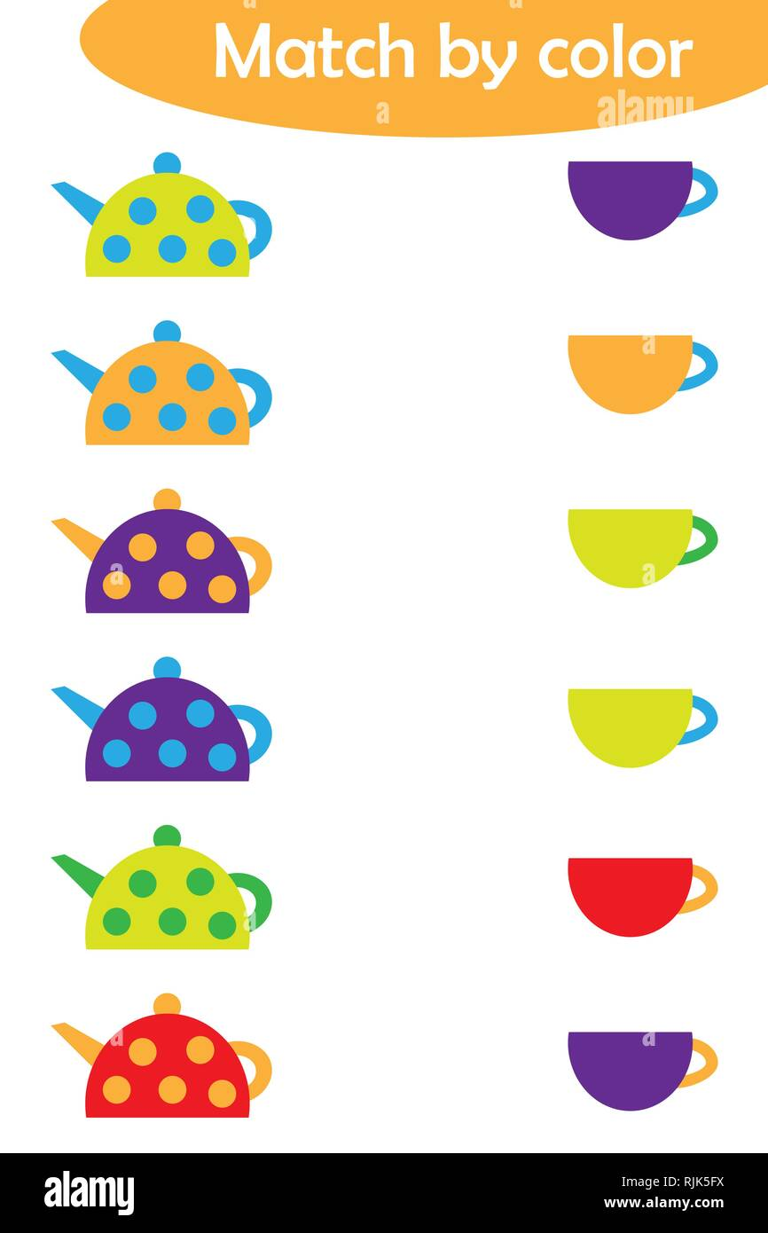 matching game for children connect colorful kettles with same color caps preschool worksheet. Black Bedroom Furniture Sets. Home Design Ideas