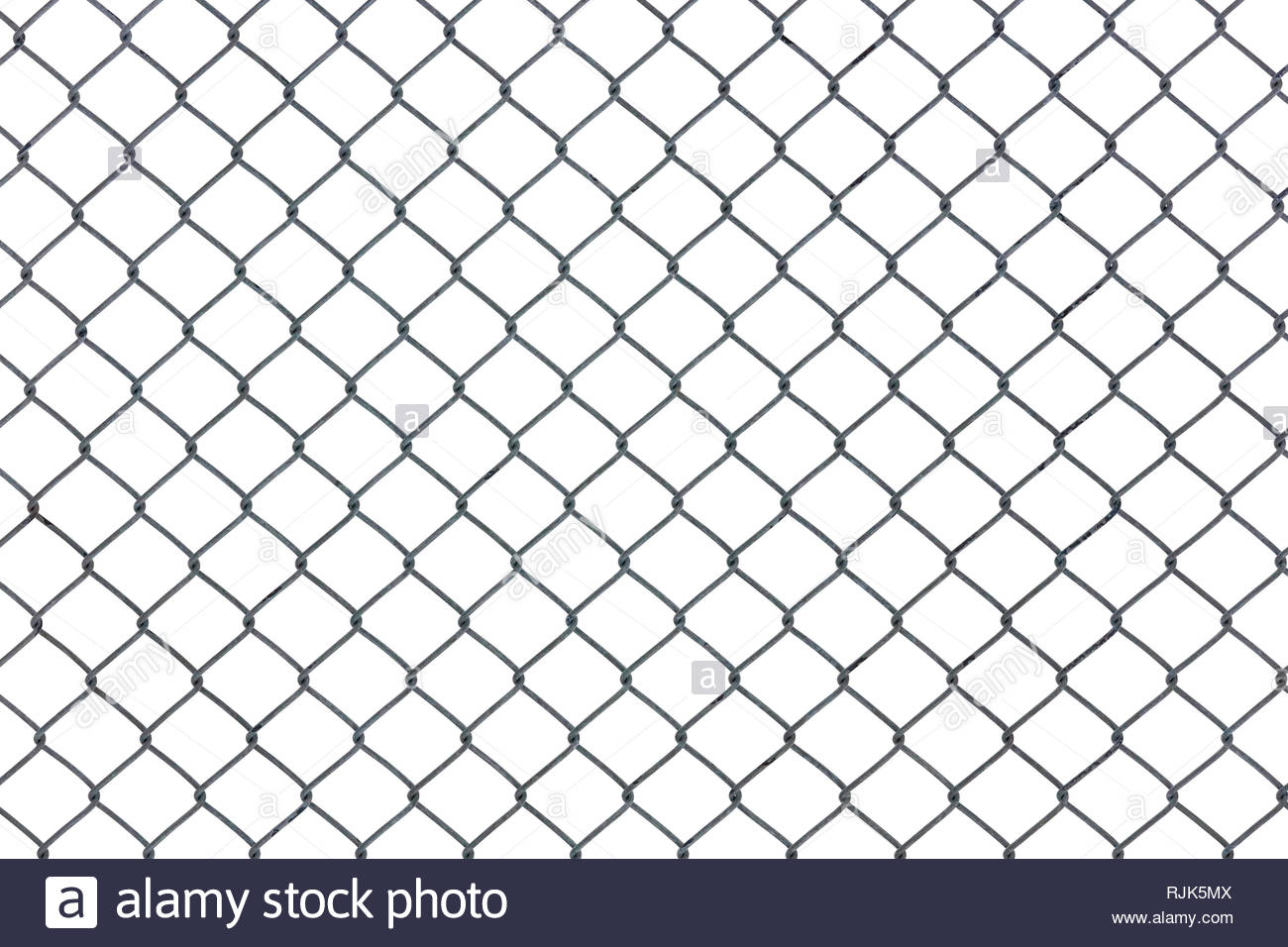 Chain link wire fence in a diamond shaped mesh pattern. - Stock Image
