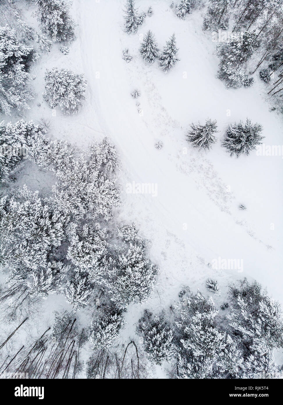 Winter road from drone perspective - Stock Image