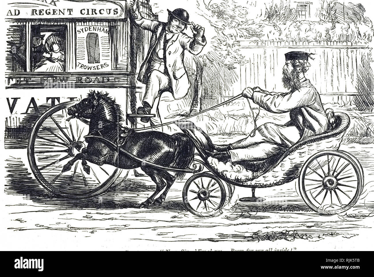An Engraving Depicting A Disabled Gentleman Driving A Pony
