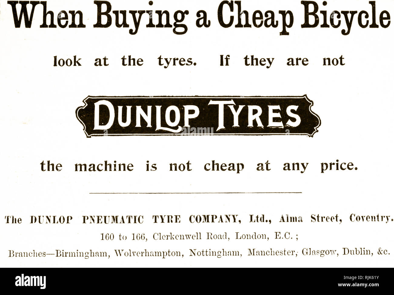 Advertisement for Dunlop Tyres. Dated 20th century - Stock Image