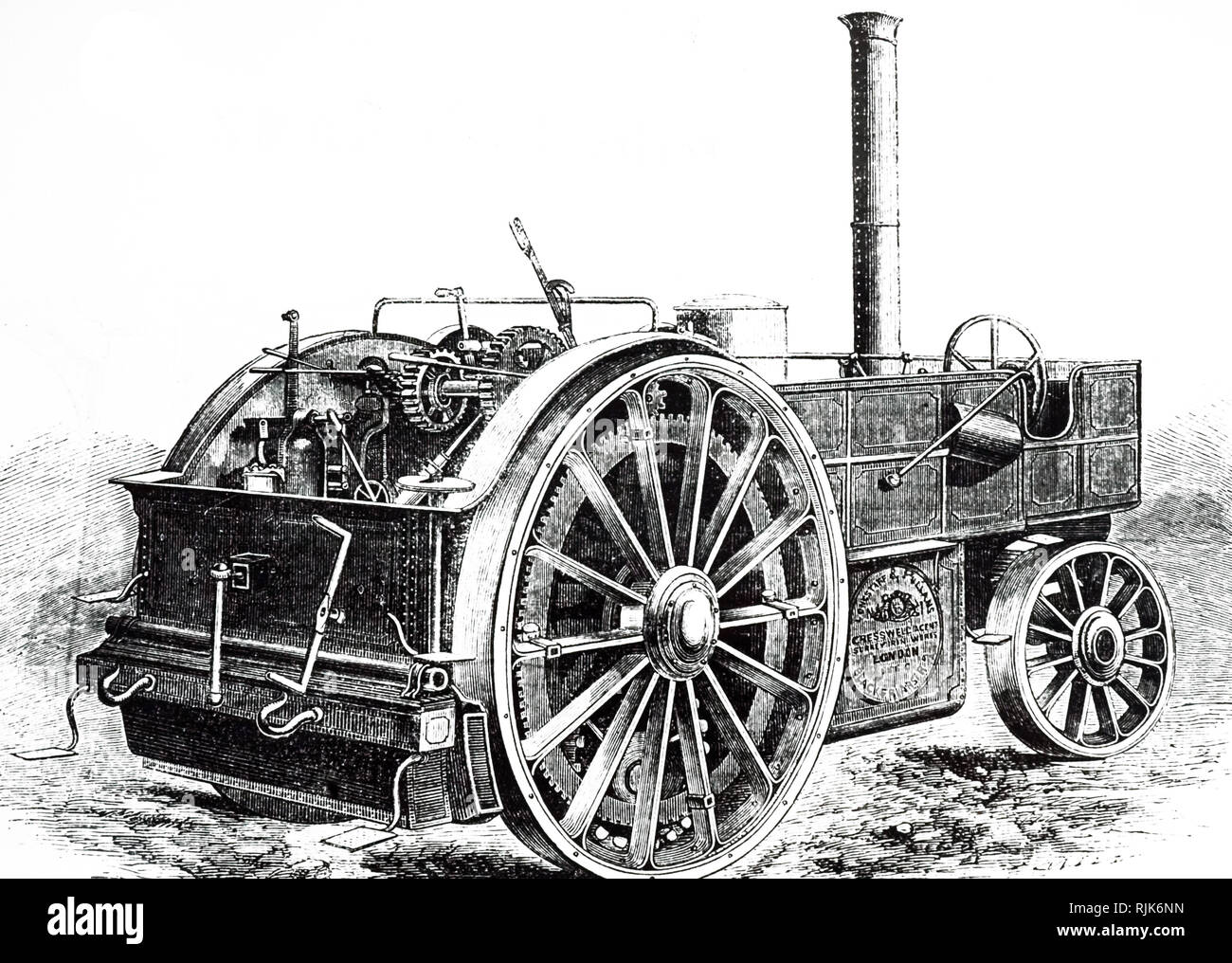 An engraving depicting a traction engine by Longstaff & Pullen. Of unique construction because a separate chassis and a second independent frame carried the driving axle and gear. Extra grip was possible by lowering additional driving wheels. Dated 19th century - Stock Image