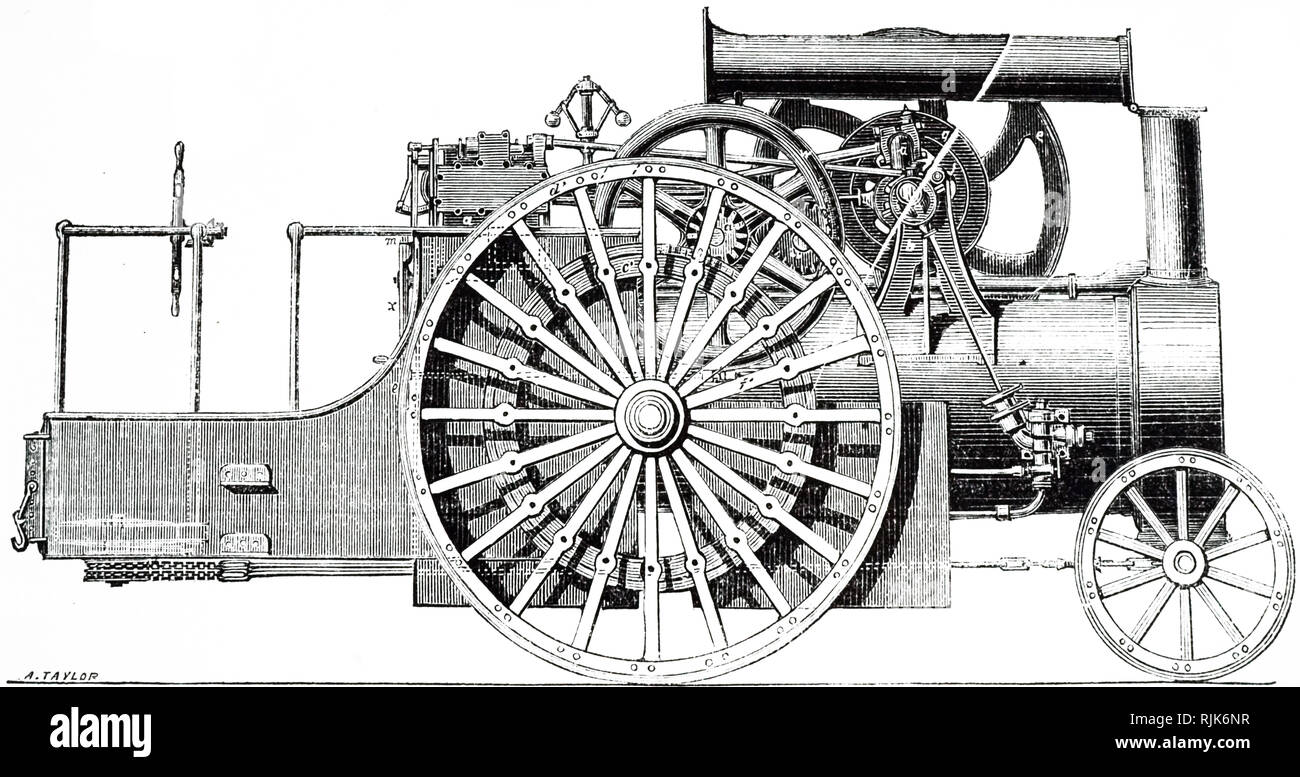 An engraving depicting an improved traction engine with friction clutches designed and made by George Biddell, Ipswich. Dated 19th century - Stock Image