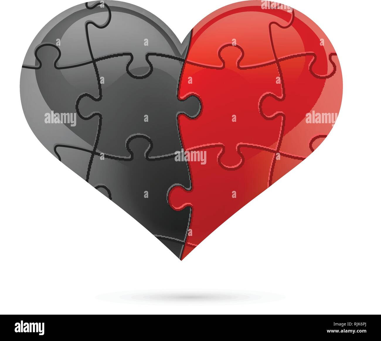 Puzzle heart. Vector illustration - Stock Image
