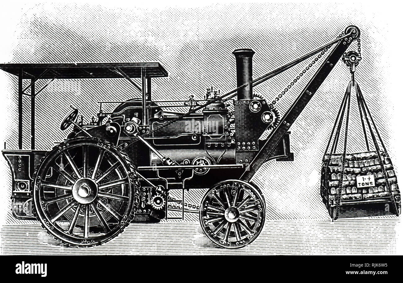 An engraving depicting a traction engine with a self-contained crane. Dated 20th century - Stock Image