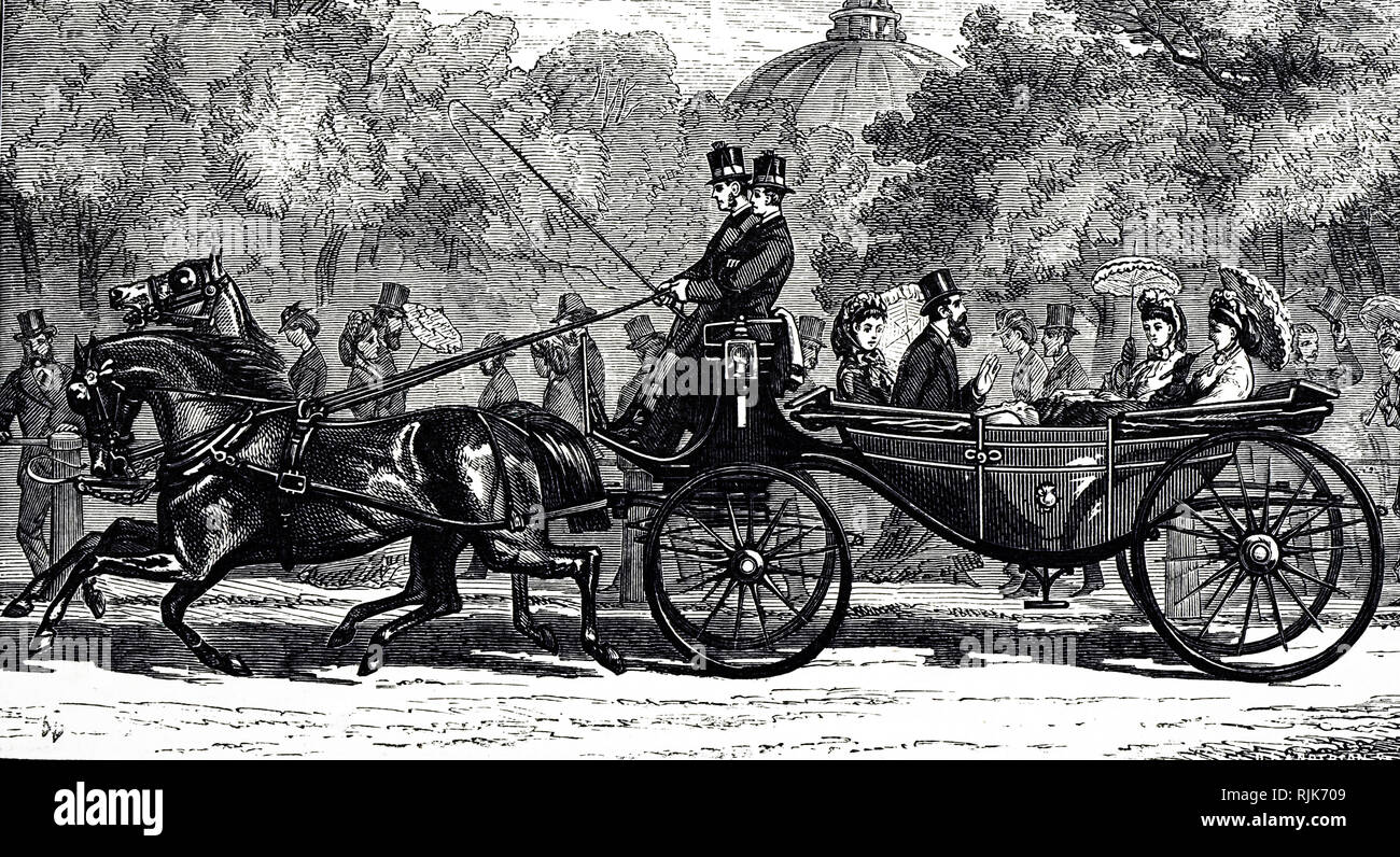 An engraving depicting a Landau, a coach building term for a type of four-wheeled, convertible carriage. Dated 19th century - Stock Image