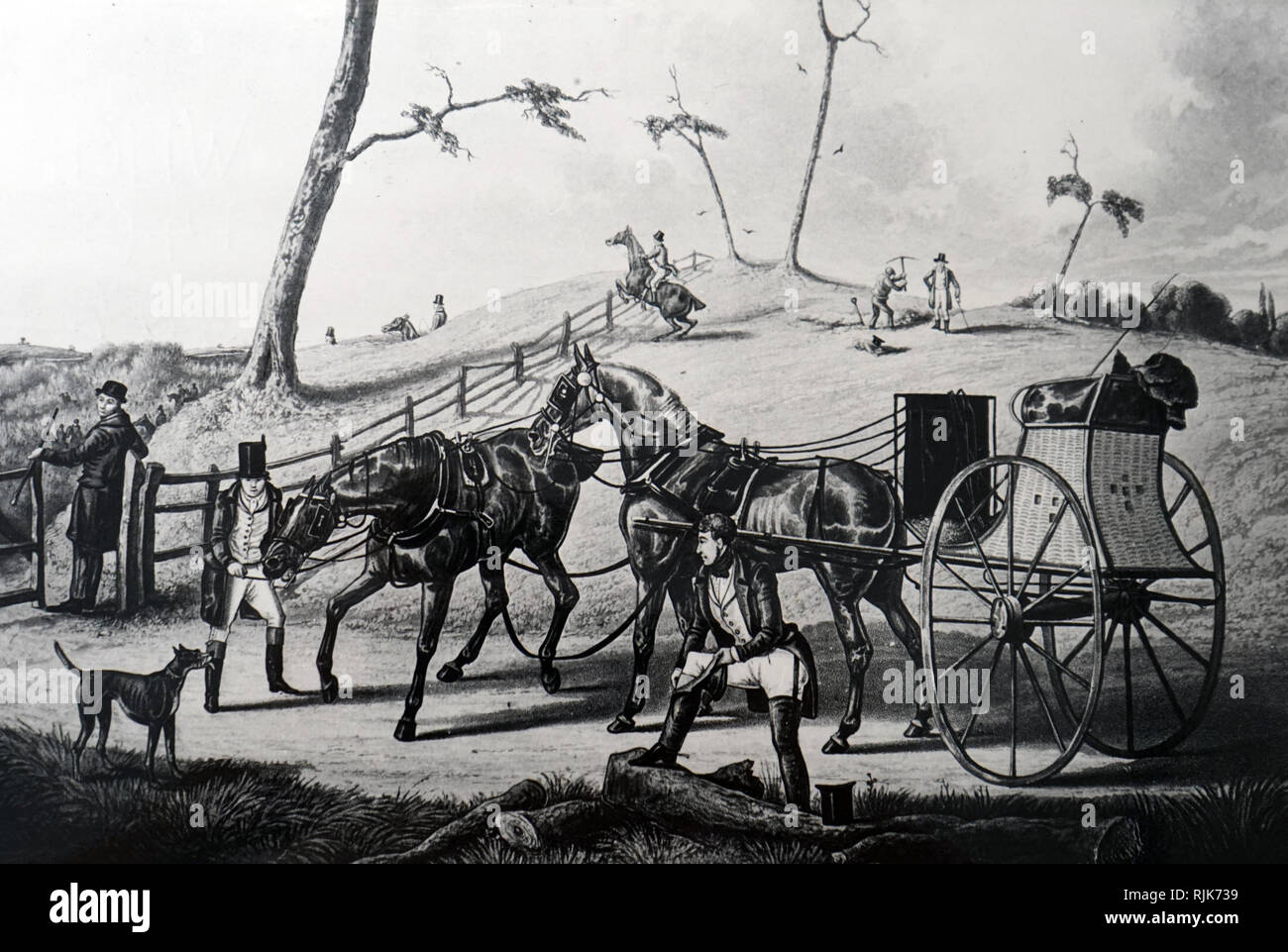 A lithograph depicting a sporting tandem. Dated 19th century - Stock Image