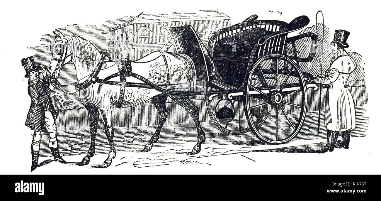 An engraving depicting a gig - a light two-wheeled carriage pulled by one horse. Dated 19th century - Stock Image